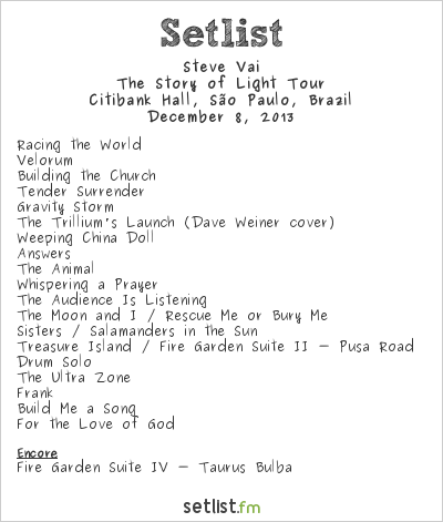 Steve Vai Setlist Citibank Hall, São Paulo, Brazil 2013, The Story of Light Tour