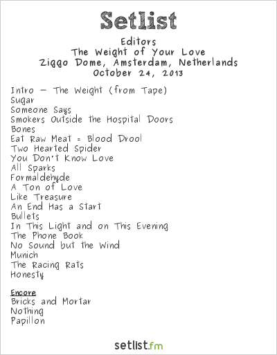 Editors Setlist Ziggo Dome, Amsterdam, Netherlands 2013, The Weight of Your Love