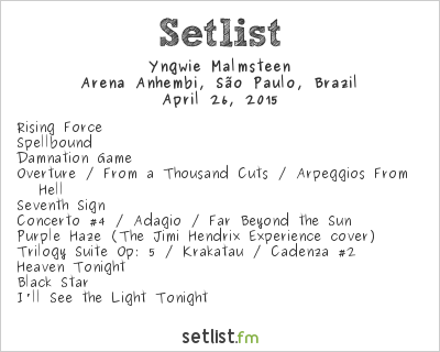 Yngwie J. Malmsteen Setlist Monsters of Rock Brazil 2015 2015