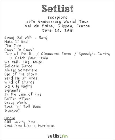 Scorpions Setlist Hellfest 2015 2015, 50th Anniversary World Tour