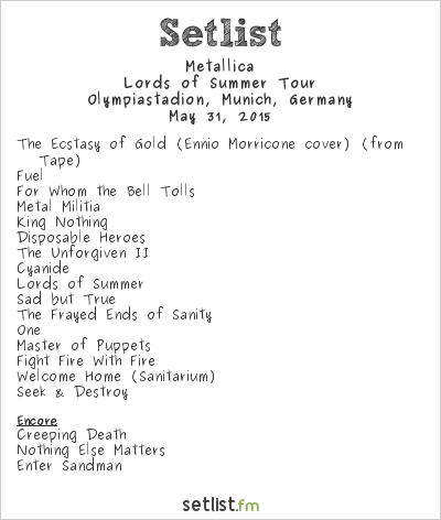 Metallica Setlist Rockavaria 2015 2015, Lords of Summer Tour