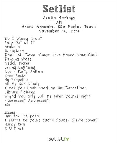 Arctic Monkeys Setlist Arena Anhembi, São Paulo, Brazil 2014, AM Tour