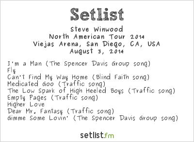 Steve Winwood Setlist Viejas Arena, San Diego, CA, USA 2014, Tour with Tom Petty