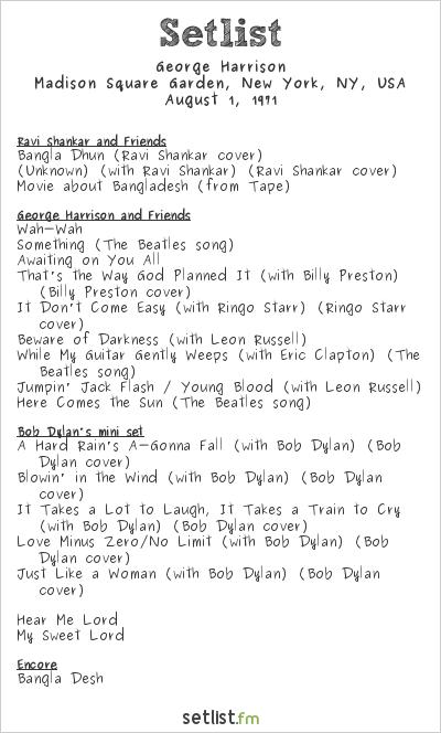 George Harrison Setlist The Concert for Bangladesh 1971