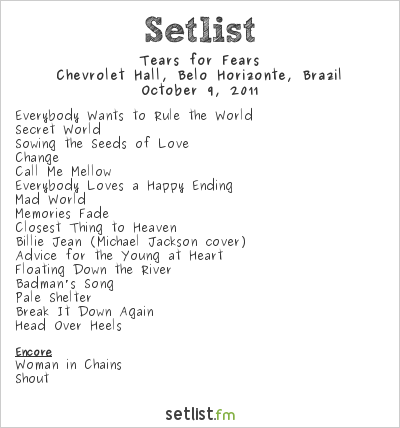 Tears for Fears Setlist Chevrolet Hall, Belo Horizonte, Brazil 2011