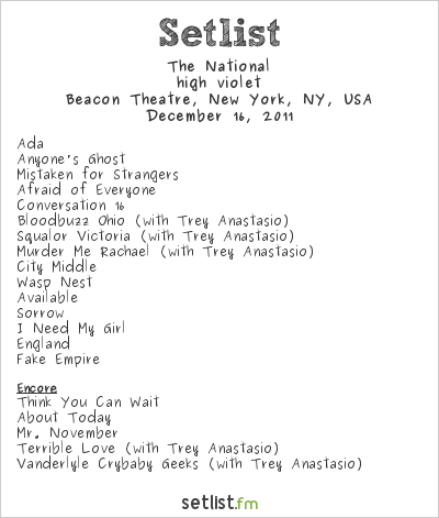The National Setlist Beacon Theatre, New York, NY, USA 2011