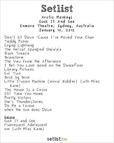 Arctic Monkeys Setlist Enmore Theatre, Sydney, Australia 2012, Suck It And See Tour