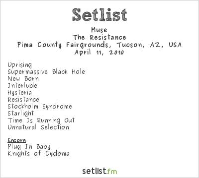 Muse Setlist Pima County Fairgrounds, Tucson, AZ, USA 2010, Resistance North American Arena Tour