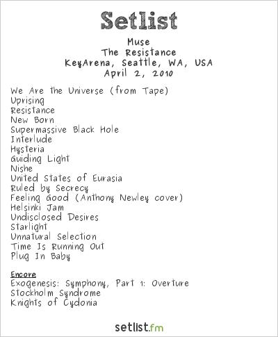 Muse Setlist KeyArena, Seattle, WA, USA 2010, Resistance North American Arena Tour