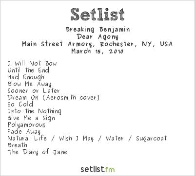 Breaking Benjamin Setlist Main Street Armory, Rochester, NY, USA 2010, Dear Agony