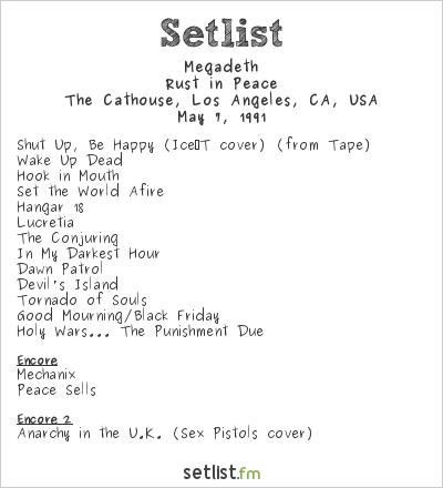 Megadeth Setlist The Cathouse, Los Angeles, CA, USA 1991, Rust In Peace