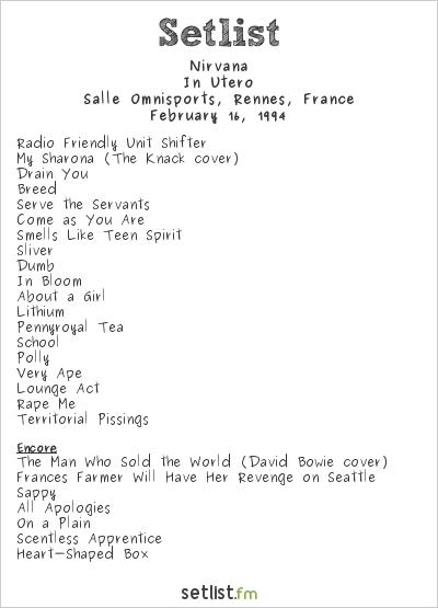 Nirvana Setlist Salle Omnisports, Rennes, France 1994, In Utero Tour