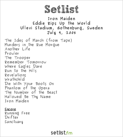 Iron Maiden Setlist Ullevi Stadium, Gothenburg, Sweden 2005, Eddie Rips Up the World