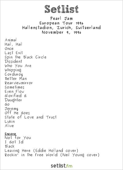 Pearl Jam Setlist Hallenstadion, Zurich, Switzerland, European Tour 1996