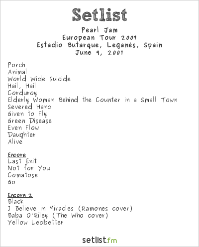 Pearl Jam Setlist Festimad 2007, European Tour 2007