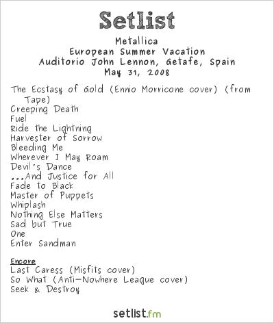 Metallica Setlist Electric Weekend 2008 2008, European summer vacation