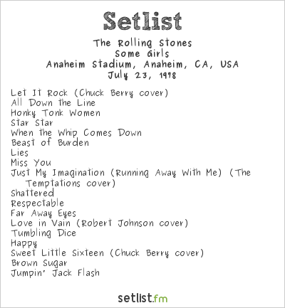 The Rolling Stones Setlist Anaheim Stadium, Anaheim, CA, USA 1978, Some Girls