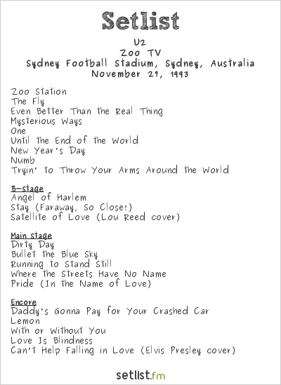 U2 at Sydney Football Stadium, Sydney, Australia Setlist