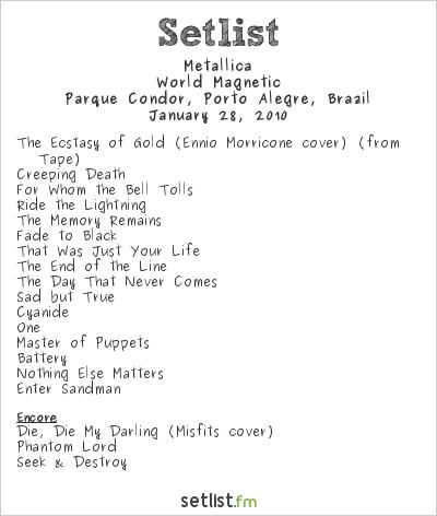 Metallica Setlist Parque Condor, Porto Alegre, Brazil 2010, World Magnetic