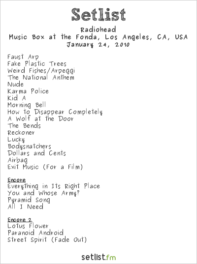 Radiohead Setlist Music Box at the Fonda, Los Angeles, CA, USA 2010