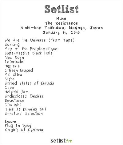 Muse Setlist Aichi-Ken Taiikukan, Nagoya, Japan 2010, Resistance Asia Tour