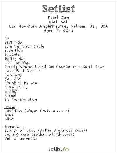 Pearl Jam Setlist Oak Mountain Amphitheatre, Pelham, AL, USA 2003, Riot Act