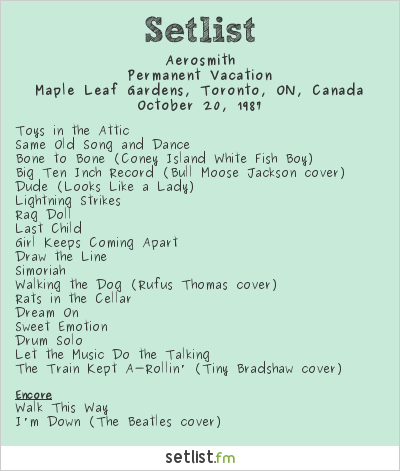 Aerosmith Setlist Maple Leaf Gardens, Toronto, ON, Canada 1987, Permanent Vacation Tour