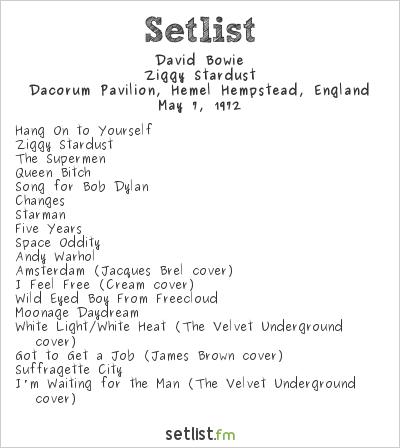 David Bowie Setlist Hemel Hempsted Pavilion, Hertford, England 1972, Ziggy Stardust Tour