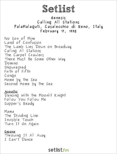 Genesis Setlist PalaMalaguti, Casalecchio di Reno, Italy 1998, Calling All Stations