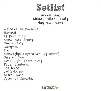 Green Day Setlist Ohibò, Milan, Italy 2013