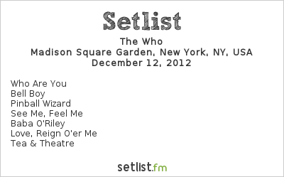 The Who Setlist 12-12-12: The Concert for Sandy Relief 2012