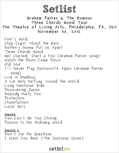 Graham Parker & The Rumour Setlist The Theatre of Living Arts, Philadelphia, PA, USA 2012, Three Chords Good Tour
