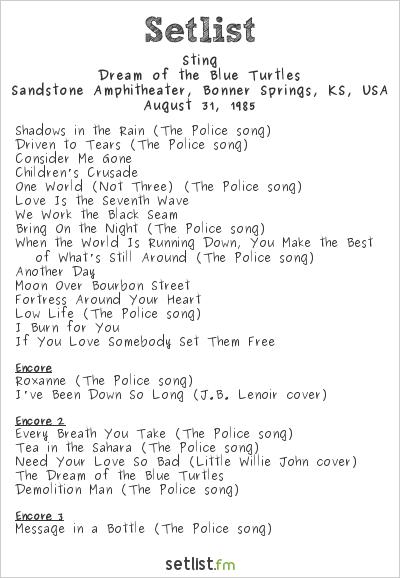 Sting at Sandstone Amphitheater, Bonner Springs, KS, USA Setlist