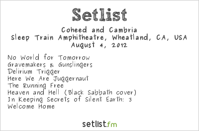 Coheed and Cambria Setlist Sleep Train Amphitheatre, Wheatland, CA, USA, Maiden England - North American Tour 2012