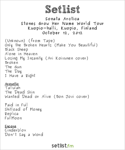 Sonata Arctica Setlist Kuopiohalli, Kuopio, Finland 2012, Stones Grow Her Name World Tour