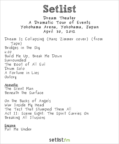 Dream Theater Setlist Yokohama Arena, Yokohama, Japan 2012, A Dramatic Tour of Events