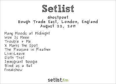 Ghostpoet Setlist Rough Trade East, London, England 2017