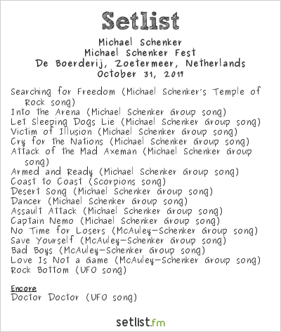 Michael Schenker Setlist De Boerderij, Zoetermeer, Netherlands 2017, Michael Schenker Fest