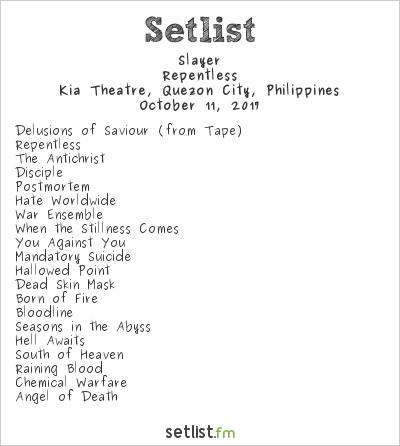 Slayer Setlist Kia Theatre, Quezon City, Philippines 2017, Repentless