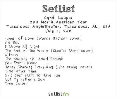 Cyndi Lauper Setlist Tuscaloosa Amphitheatre, Tuscaloosa, AL, USA, Rod Stewart / Cyndi Lauper 2017