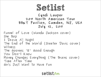 Cyndi Lauper Setlist BB&T Pavilion, Camden, NJ, USA, Rod Stewart / Cyndi Lauper 2017