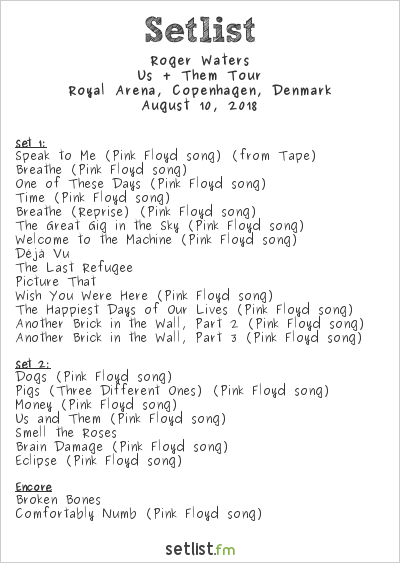 Roger Waters Setlist Royal Arena, Copenhagen, Denmark 2018, Us + Them Tour