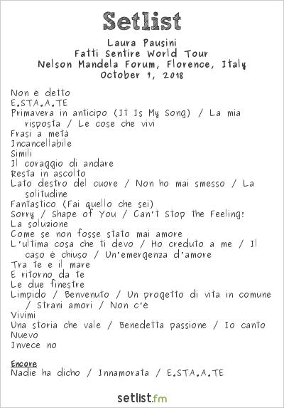 Laura Pausini Setlist Nelson Mandela Forum, Florence, Italy 2018, Fatti Sentire World Tour