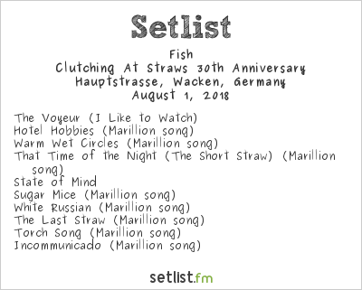 Fish Setlist Wacken Open Air 2018 2018, Clutching At Straws 30th Anniversary
