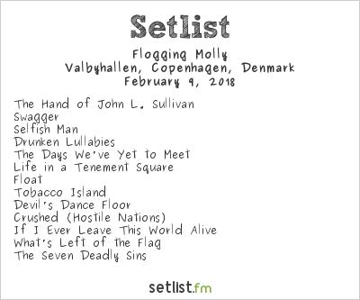 Flogging Molly Setlist Valbyhallen, Copenhagen, Denmark 2018