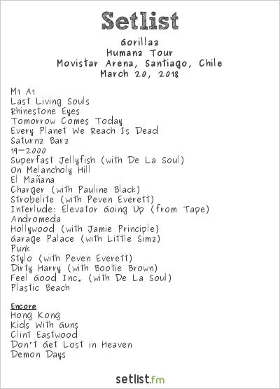 Gorillaz Setlist Movistar Arena, Santiago, Chile 2018, Humanz Tour