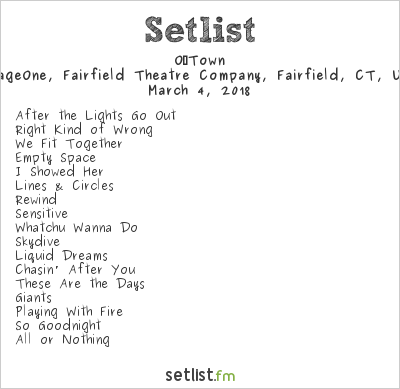 O‐Town Setlist FTC Stage One, Fairfield, CT, USA 2018