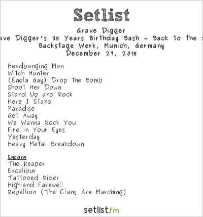 Grave Digger Setlist Backstage Werk, Munich, Germany 2015, Grave Digger's 35 Years Birthday Bash – Back to the 80s