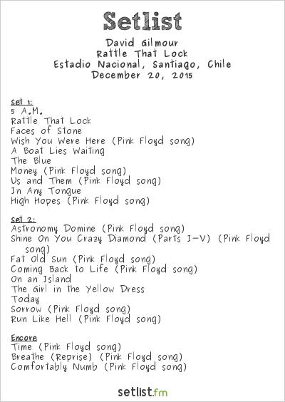 David Gilmour Setlist Estadio Nacional, Santiago, Chile ...