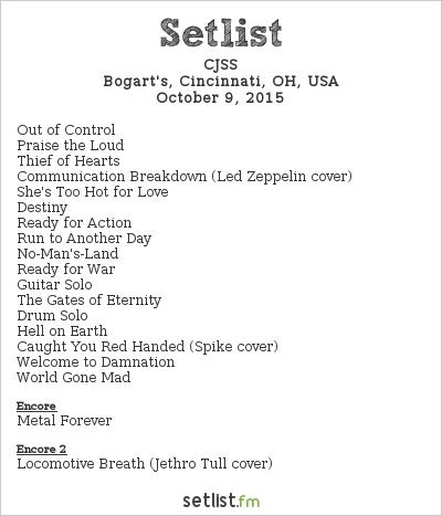 CJSS Setlist Bogart's, Cincinnati, OH, USA 2015